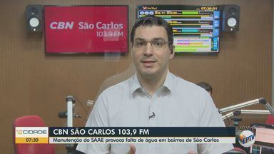 Manutenção do Saae provoca falta d'água em bairros de São Carlos - Flávio Mesquita, apresentador da CBN São Carlos, tem mais informações.
