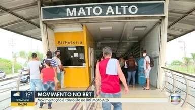 Movimentação no BRT Mato Alto é tranquila na manhã desta segunda (28) - Repórter Ana Paula Santos acompanha.