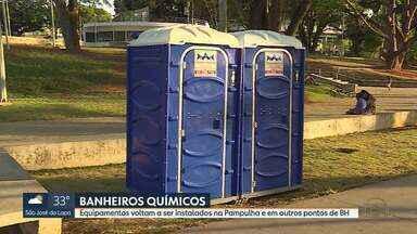 Banheiros químicos voltam a ser instalados em Belo Horizonte - Equipamentos estão distribuídos em 15 pontos na orla da Lagoa da Pampulha e em outras áreas da capital.