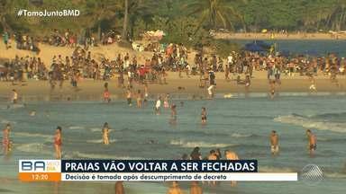 Prefeito ACM Neto anuncia fechamento de praias após fim de semana de aglomerações - A Guarda Municipal deve manter o trabalho de fiscalização na orla nos próximos dias. Entre os pontos com mais movimento estão Canta Galo e Itapuã.