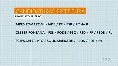 Confira os candidatos à prefeitura de Francisco Beltrão - São três candidatos registrados.