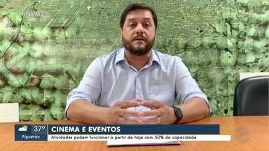 Cinemas e eventos podem voltar a funcionar com 50% da capacidade em Campo Grande - Cinemas e eventos podem voltar a funcionar com 50% da capacidade em Campo Grande