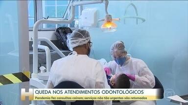 Atendimentos odontológicos são retomados após cair mais de 83% no auge da pandemia - Em Belo Horizonte, por exemplo, as consultas odontológicas caíram pela metade, depois de março.