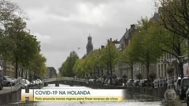 Holanda anuncia novas regras para frear avanço da Covid-19 no país - Só três pessoas de casas diferentes podem se encontrar em ambientes fechados. Uso da máscara foi ampliado em cidades grandes como Amsterdã.