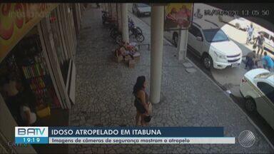 Vídeo mostra momento que idoso é atropelado em rua de Ilhéus, sul da Bahia - Ele teve ferimento na perna. Acidente acontece nesta terça-feira (29).