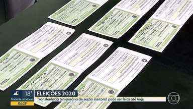 Transferência temporária de seção eleitoral pode ser feita até hoje (1) - A transferência é válida apenas para as eleições 2020, ou seja, após a eleição, o local de votação volta a ser o que consta no cadastro do eleitor.