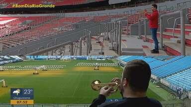 Mesmo sem poder ir aos estádios, torcedores da dupla Gre-Nal seguem mobilizados - Assista ao vídeo.