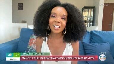 Thelma brinca sobre o tombo que tomou no 'Criança Esperança' - Médica foi amparada por Manoel Soares