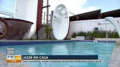 Pandemia e calor aumentam venda e instalação de piscinas em Juiz de Fora - Para garantir o lazer em casa, mesmo com as altas temperaturas, a população tem apostado em piscinas residenciais.