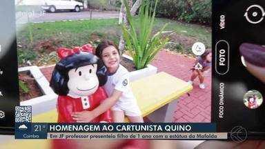 Professor de Juiz de Fora presenteia filho com estátua da Mafalda - A escultura foi feita em comemoração pelo aniversário de Miguel, de apenas um ano. Reportagem do MG1 homenageia a morte do criador da personagem, o cartunista argentino Quino.