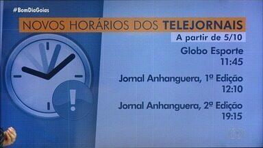 Confira novos horários dos telejornais da TV Anhanguera - Por causa das Eleições, há alterações na programação; fique ligado.