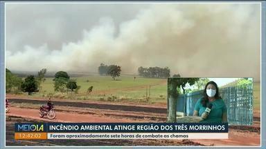 Incêndio ambiental atinge área próxima ao Parque Municipal Três Morrinhos - Foram sete horas até o fogo ser controlado.