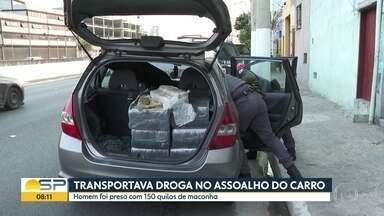 Homem é preso em SP transportando 150 quilos de maconha em assoalho do carro - Segundo a polícia, ele confessou que tinha sido contratado para levar a droga da cidade de Cascavel até São Paulo.