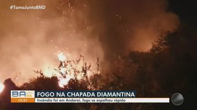 Incêndio atinge vegetação em Andaraí, na Chapada Diamantina - Fogo começou na manhã de terça-feira (6) e se espalhou rapidamente.