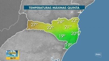 Confira a previsão do tempo em SC para a quinta-feira - Confira a previsão do tempo em SC para a quinta-feira