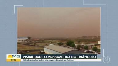 Cidades do Triângulo Mineiro são tomadas por nuvem de poeira e fuligem - A visibilidade em alguns locais ficou comprometida.