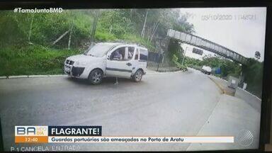 Agentes que protegem a 'Prainha' do Porto de Aratu sofrem ameaças após bloqueio ser furado - Eles se recusaram a apresentar a identificação para terem acesso ao local, que pertence a uma área militar.