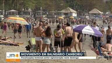 Fiscalização tentou evitar aglomeração em Balneário Camboriú no domingo - Fiscalização tentou evitar aglomeração em Balneário Camboriú no domingo