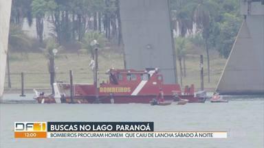Bombeiros retomam buscas por homem de 27 anos que caiu no Lago Paranoá - Vítima está desaparecida desde a noite de sábado (10/10). Ele estava em uma lancha quando caiu, próximo à Ponte JK