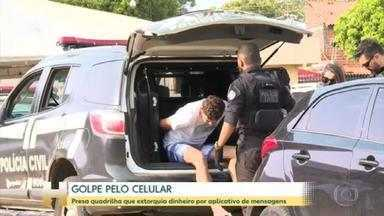 Presa quadrilha que usava aplicativo de mensagem para aplicar golpes - Uma operação conjunta das polícias de Goiás, São Paulo e do Pará prendeu uma quadrilha que cometia extorsão de dinheiro a partir de aplicativos de mensagens. Sete pessoas foram presas, em Goiânia.