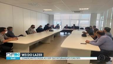W3 do Lazer: comerciantes da avenida pedem mudanças no projeto - Assunto foi discutido em reunião com o GDF hoje. Comerciantes reclamam de queda no faturamento por causa da intervenção no trânsito.