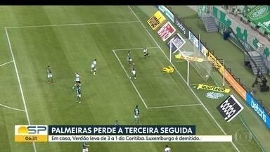 Palmeiras perde mais uma e Luxemburgo é demitido - Em casa, Verdão levou 3 a 1 em casa para o Coritiba e técnico foi mandado embora.