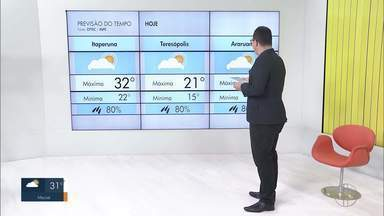 Veja a previsão do tempo para as cidades do interior do Rio - Confira as temperaturas dos municípios para esta quinta-feira (15).