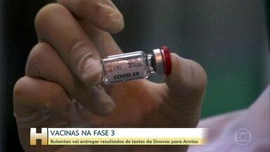 Butantan vai entregar resultados de testes da vacina contra Covid da Sinovac para a Anvisa - Na segunda-feira, o Instituto Butantan vai mandar para Anvisa os resultados dos testes da fase três da vacina desenvolvida pela chinesa Sinovac feitos no Brasil. Até agora nenhuma fase três foi concluída.