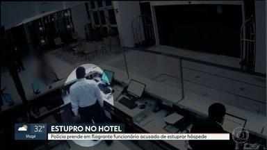 Funcionário de hotel preso em flagrante por estupro é levado para o presídio de Benfica - Fábio de Oliveira de Barros, de 37 anos, trabalha como mensageiro no Américas Barra Hotel. Imagens de câmeras de segurança mostram o funcionário entrando no quarto de hóspede com cartão magnético, e, três minutos depois, saindo do local correndo.