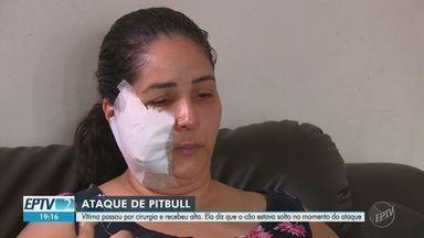 Mulher vítima de ataque de cão em Campinas recebe alta após cirurgia no rosto - Cachorro usava coleira, mas estava solto. Vítima, que fazia exercícios no momento do ataque, precisou fazer um enxerto.