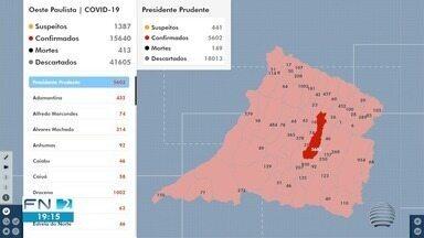 Oeste Paulista registra novos casos positivos de Covid-19 - Presidente Prudente divulgou mais 18 confirmações da doença.