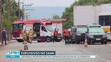 Explosivos são encontrados em cooperativa de recicláveis no SAAN - Funcionários encontraram a granada e o morteiro enquanto faziam triagem de resíduos. Esquadrão antibombas desativou os explosivos.