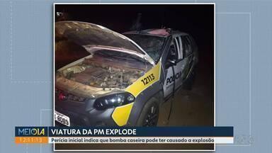 Viatura da PM explode em Ipiranga - Perícia inicial indica que bomba caseira pode ter causado a explosão.