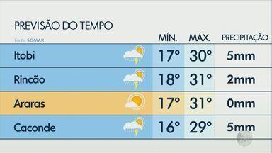 Confira a previsão do tempo para a região nesta segunda-feira - Há chances de chuvas em diversas cidades.