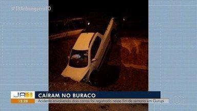 Dois carros caem em buraco aberto devido às obras na Av. Goiás no município de Gurupi - Dois carros caem em buraco aberto devido às obras na Av. Goiás no município de Gurupi