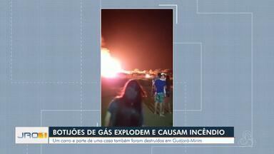 Botijões de gás explodem e incêndio destrói caminhão - Um carro e parte de uma casa também foram destruídos em Guajará-Mirim.