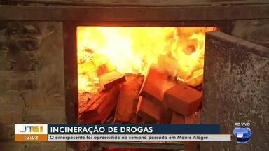 Polícia Civil destrói mais de 400kg de drogas que foram apreendidas em Monte Alegre, no PA - Ao todo, 446kg de cocaína foram destruídos. Segundo a Polícia, a carga era avaliada em aproximadamente R$ 8 milhões.