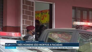 Três homens são mortos a facada dentro de supermercado de São José dos Pinhais - O dono do supermercado tentou impedir os bandidos e levou uma facada na mão. A polícia civil está investigando o caso.