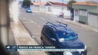 Dois motociclistas que trabalham com entregas sofrem acidentes em Franca, SP - Motoqueiros lideram ranking de acidentes de trânsito com mortes no município.