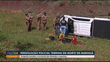 Perseguição policial termina em morte, em Maringá - Suspeito perdeu o controle da direção e capotou.