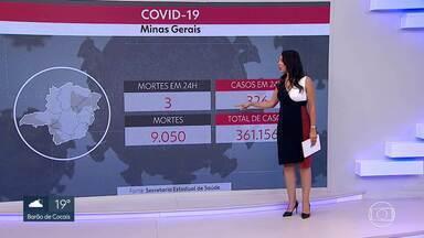 Minas Gerais registra média móvel de 37 mortes por coronavírus - Estado tem 9.050 mortes pela doença e 361.156 casos confirmados.