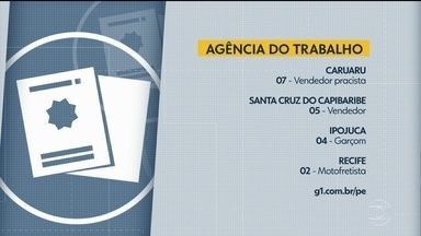Confira vagas de emprego disponíveis nesta quarta-feira - Há oportunidades através da Agência do Trabalhador de Jaboatão dos Guararapes e também da Agência do Trabalho de Pernambuco.
