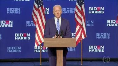 Joe Biden pede paciência ao eleitorado e se mostra otimista - O candidato democrata, Joe Biden, fez um pronunciamento, pediu paciência ao eleitorado e se mostrou otimista. Ele aguarda o resultado final da apuração, em Wilmington, no estado de Delaware.