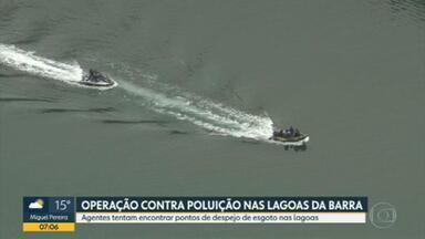 PM e Inea fazem operação contra despejo irregular de esgoto nas lagoas da Barra da Tijuca - Agentes tentam encontrar pontos de despejo de esgoto nas lagoas da Barra da Tijuca.