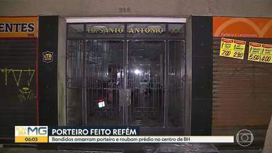 Porteiro é feito refém em assalto a prédio no Centro de BH - Um dos suspeitos foi preso pela Polícia Militar.