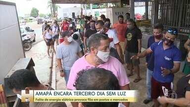 Amapá encara terceiro dia sem luz - Falta de energia elétrica já provoca fila em postos e mercados. 89% da população do estado está com falta no fornecimento.