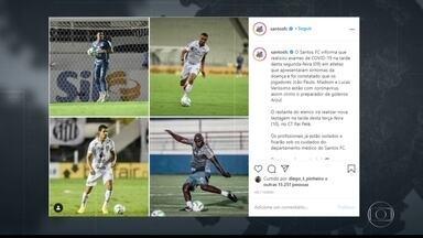 Mais quatro profissionais do Santos são diagnosticados com Covid-19 - Os jogadores João Paulo, Mádson e Lucas Veríssimo apresentaram sintomas e testaram positivo. Um preparador de goleiros também está com a doença.