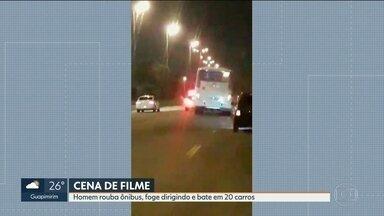 Homem rouba ônibus no terminal Alvorada - Enquanto fugia dirigindo o ônibus, ladrão bateu em vinte carros