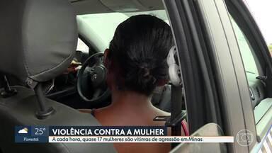 A cada hora, quase 17 mulheres são vítimas de agressão em Minas - Ontem, uma vítima levou pedradas do marido em Contagem. Em BH, arquiteta fala sobre violência sofrida por ex-namorado.