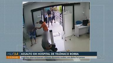 Ladrões agridem vítimas durante assalto em hospital de Telêmaco Borba - Um dos três suspeitos do crime foi preso.